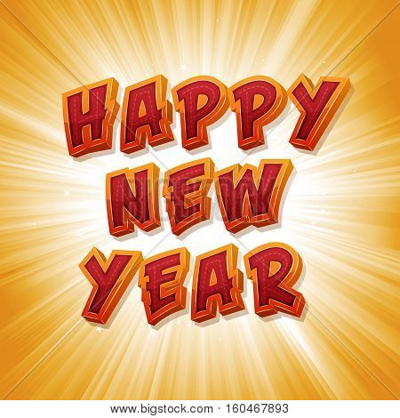 Illustration of a punchy happy new year message with comic design font and explosive sunrays background