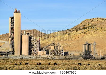 Cement Factory surrounded by sagebrush and grasslands
