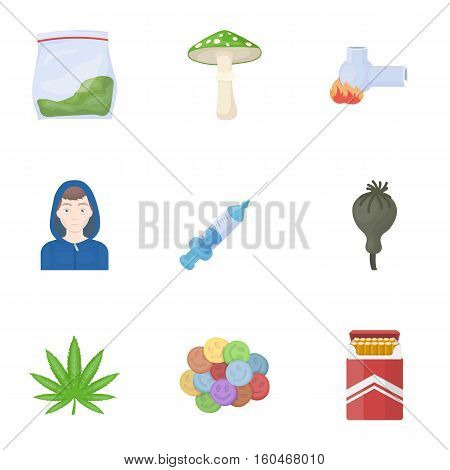 Drugs set icons in cartoon style. Big collection of drugs vector symbol stock
