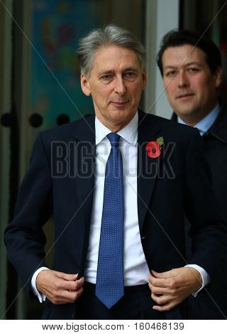 LONDON, UK, NOV 8, 2015: Philip Hammond Secretary of State for Foreign and Commonwealth Affairs attends the Andrew Marr show at the BBC studios picture taken from the street