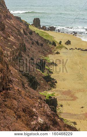 Top View Empty Beach Pipa Brazil