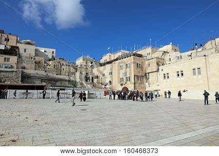 Jerusalem, Israel - November 2 , 2016: Western Wall Plaza in Jerusalem. Ist located in front oft he Western Wall in the heart of Jerusalem. A popular Place for local jewish People and Tourists.