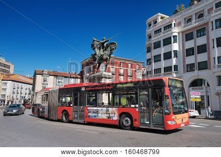 BURGOS SPAIN - SEPTEMBER 4: Urban landscape of Burgos city downtown with bus passing by on September 4 2016 in Burgos Spain.