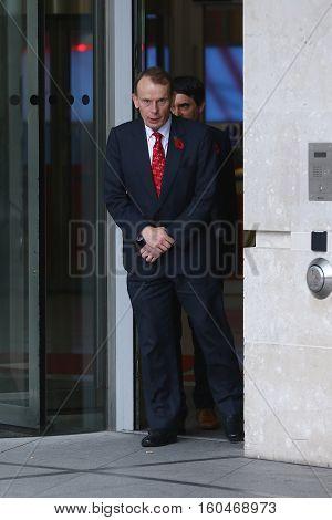 LONDON, UK , NOV 8, 2015: Andrew Marr seen leaving BBC studios picture taken from the street