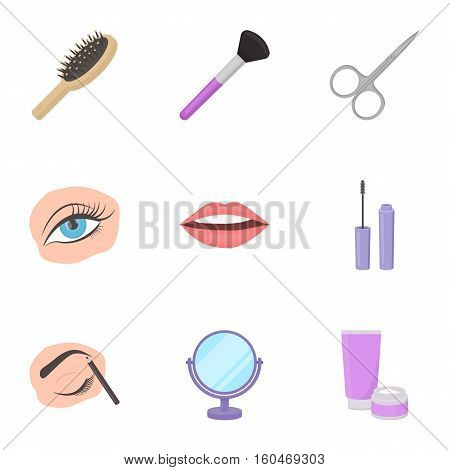 Make up set icons in cartoon style. Big collection of make up vector symbol stock