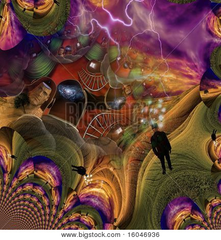 High Resolution 3D Illustration Human Abstract with other elements