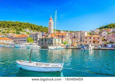 View at mediterranean summertime scenery in Croatia, Pucisca town, Island Brac.