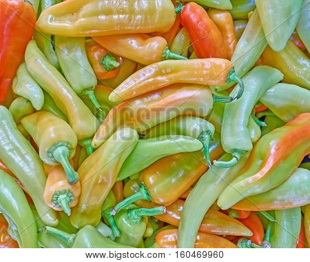 sweet horn peppers closeup colorful food background