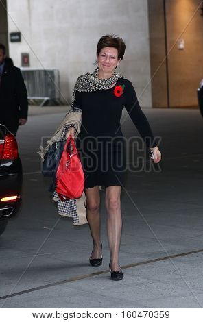 LONDON, UK, NOV  8, 2015: Diane Martine James is one of four UKIP Members of the European Parliament attends the Andrew Marr show at the BBC studios picture taken from the street