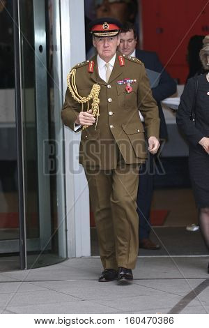 LONDON, UK, NOV 8, 2015: General Sir John Nicholas Houghton Chief of the Defence Staff of the British Armed Forces attends the Andrew Marr show at the BBC picture taken from the street