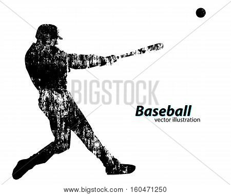 silhouette of a baseball player. Text on a separate layer, color can be changed in one click