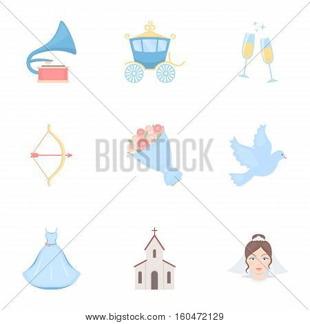 Weeding set icons in cartoon style. Big collection of wedding vector symbol stock
