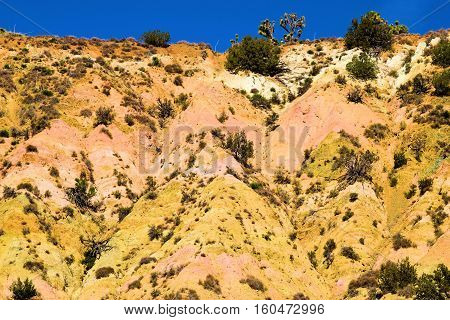 Badlands with colorful hills which has erosion from flash floods taken in the Mojave Desert, CA