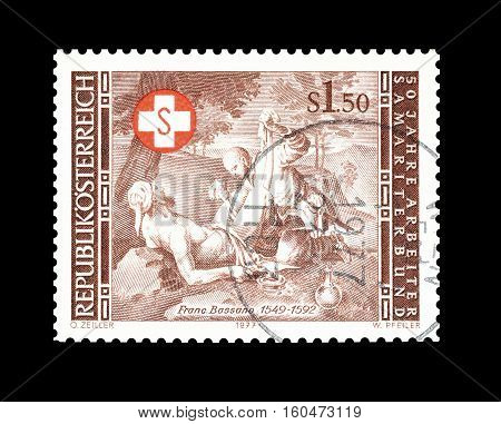 AUSTRIA - CIRCA 1977 : Cancelled stamp printed by Austria, that shows Painting by Francesco Bassano.