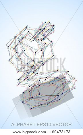 Abstract illustration of a Multicolor sketched G with Reflection. Hand drawn 3D G for your design. EPS 10 vector illustration.