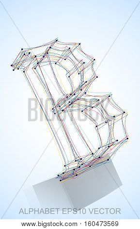 Abstract illustration of a Multicolor sketched B with Reflection. Hand drawn 3D B for your design. EPS 10 vector illustration.