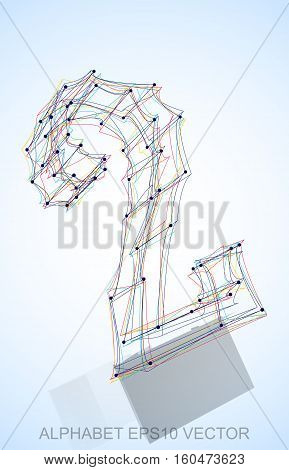 Abstract illustration of a Multicolor sketched 2 with Reflection. Hand drawn 3D 2 for your design. EPS 10 vector illustration.