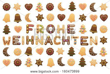 FROHE WEIHNACHTEN - Merry Christmas in german, written among christmas cookies and gingerbread cookies.