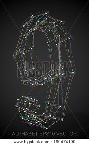 Abstract illustration of a Multicolor sketched 9 with Transparent Shadow. Hand drawn 3D 9 for your design. EPS 10 vector illustration.