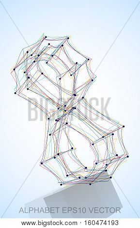 Abstract illustration of a Multicolor sketched 8 with Reflection. Hand drawn 3D 8 for your design. EPS 10 vector illustration.