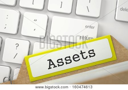 Assets. Yellow File Card Lays on Computer Keyboard. Archive Concept. Closeup View. Blurred Image. 3D Rendering.