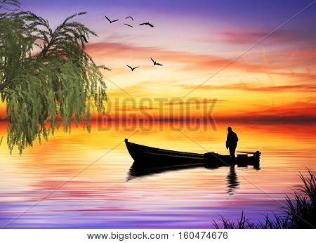 fisherman in the lake
