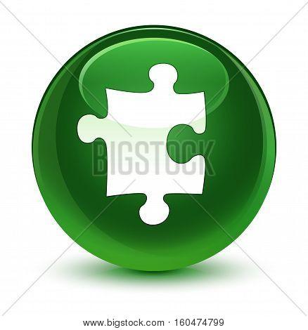 Puzzle Icon Glassy Soft Green Round Button