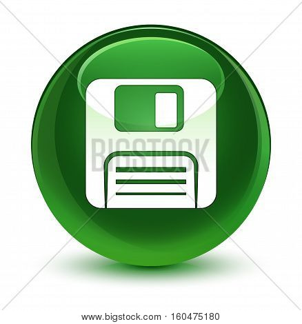 Floppy Disk Icon Glassy Soft Green Round Button