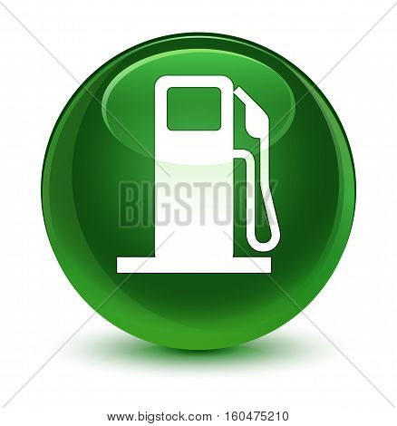 Fuel Dispenser Icon Glassy Soft Green Round Button