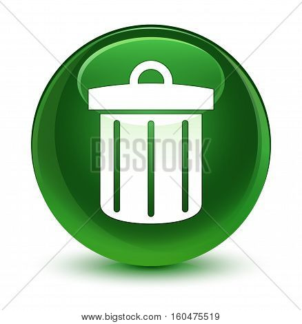 Recycle Bin Icon Glassy Soft Green Round Button