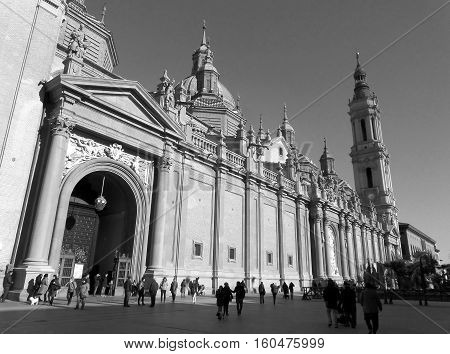 Cathedral-Basilica of Our Lady of the Pillar in Monotone, Stunning Landmark of Zaragoza, Spain