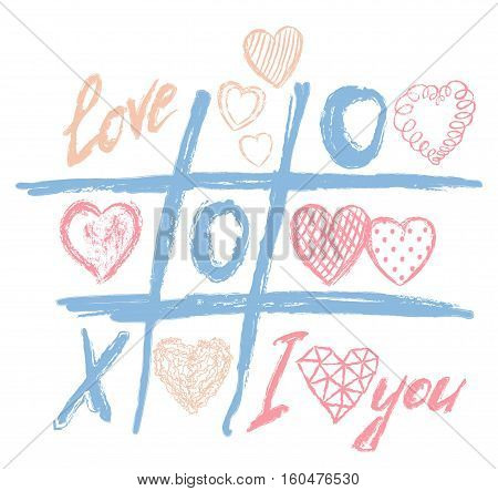 Vector happy valentines day greeting card, xoxo, love game