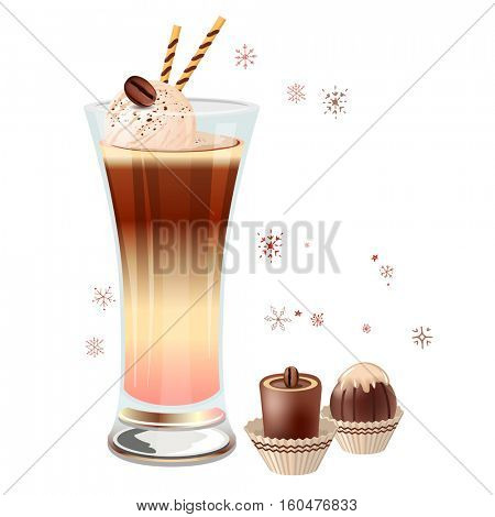 Glass of ice coffee and icecream isolated on white background. Two chocolate candies. Vector illustration, gradient mesh. For restaurant and cafe menu.