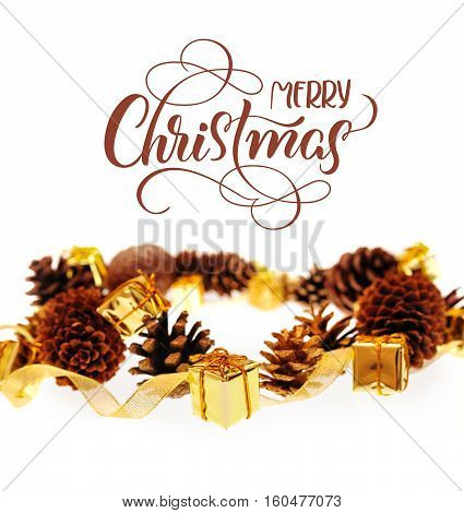 bumps and Golden gifts on white background with text Merry Christmas. Calligraphy lettering.