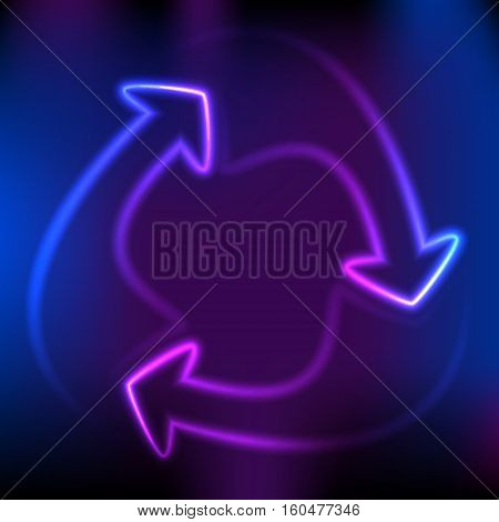 Abstract arrows circle neon corporate concepts. Glow light effect on purple background. Vector illustration EPS 10 for business workflow layout web banner template magazine brochure design elements