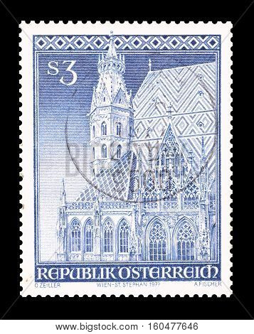 AUSTRIA - CIRCA 1977 : Cancelled stamp printed by Austria, that shows Southern Roman Tower.