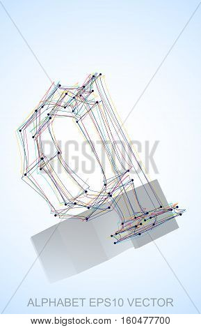 Abstract illustration of a Multicolor sketched Q with Reflection. Hand drawn 3D Q for your design. EPS 10 vector illustration.