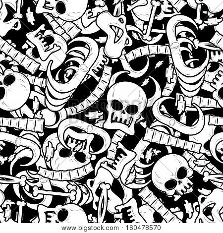 Bones Seamless Pattern. Skeleton Background. Skull Ornament. Anatomy Texture. Hell Pattern. Skull An