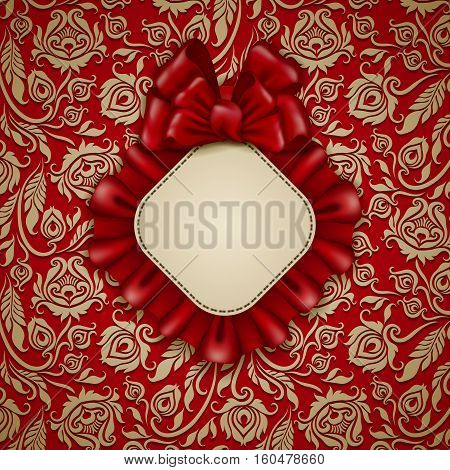 Elegant template for luxury invitation, gift card with lace ornament, ruffles, ribbon, bow, place for text. Floral elements, ornate vintage background. Valentine, mother day design. Illustration EPS10