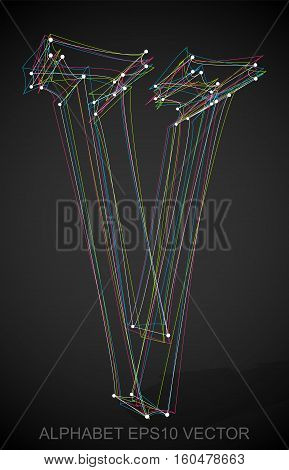 Abstract illustration of a Multicolor sketched V with Transparent Shadow. Hand drawn 3D V for your design. EPS 10 vector illustration.