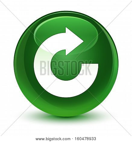 Reply Arrow Icon Glassy Soft Green Round Button