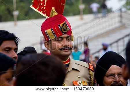 PUNJAB INDIA - MAY 4 2013: Portrait of a soldier at the India-Pakistan border (Wagah Border Amritsar)