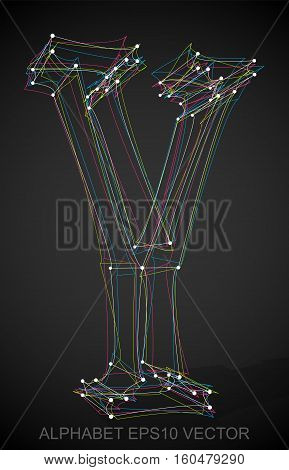 Abstract illustration of a Multicolor sketched Y with Transparent Shadow. Hand drawn 3D Y for your design. EPS 10 vector illustration.