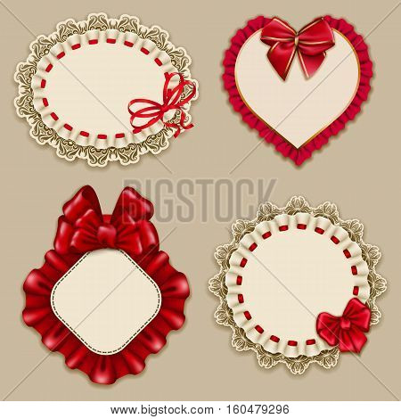 Set of elegant templates ornate frames for design luxury invitation, gift, greeting card, postcard with lace ornament, ruffles, red bows, ribbons, place for text. Vector illustration EPS10