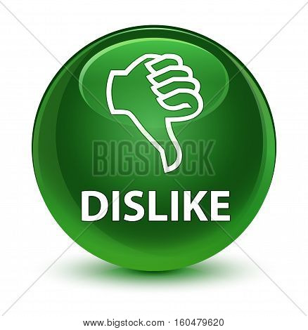 Dislike Glassy Soft Green Round Button
