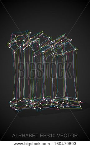 Abstract illustration of a Multicolor sketched M with Transparent Shadow. Hand drawn 3D M for your design. EPS 10 vector illustration.