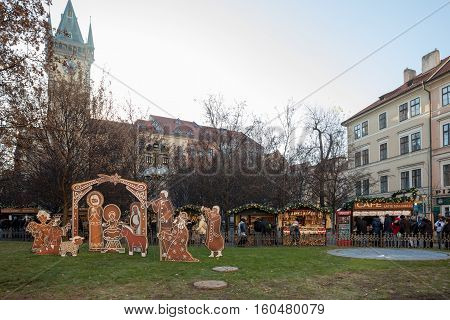 Nativity Scene At Old Town Square In Prague