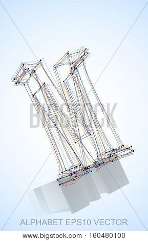 Abstract illustration of a Multicolor sketched M with Reflection. Hand drawn 3D M for your design. EPS 10 vector illustration.