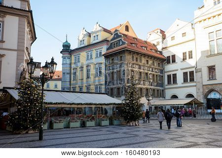 City Decoration In Advent Christmas Time At Prague