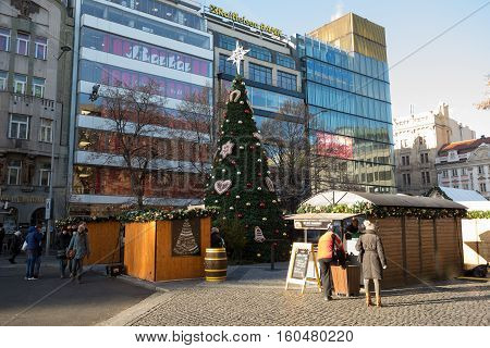 Famous Advent Christmas Decorated Wenceslas Square In Prague